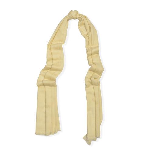 100% Cashmere Wool Cream Colour Scarf (Size 200x70 Cm)