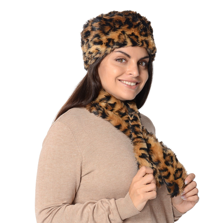 NEW DARK LEOPARD COLOUR LADIES FAUX FUR WINTER HAT AND GLOVE SET