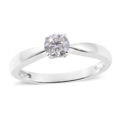 Close Out Deal- 14K White Gold SGL Certified Diamond (Rnd) (I1-I2/G-H) Solitaire Ring 0.50 Ct.