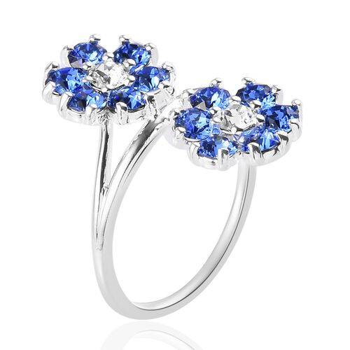 J Francis Crystal from Swarovski - Sapphire Colour and White Colour Crystal Bypass Floral Ring in Sterling Silver