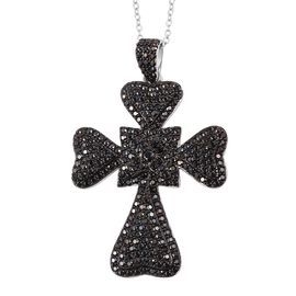 Boi Ploi Black Spinel (Rnd) Leaf Clover Cross Pendant with Chain in Rhodium and Black Plating Sterling Silver 2.650 Ct, Number of Gemstone 253