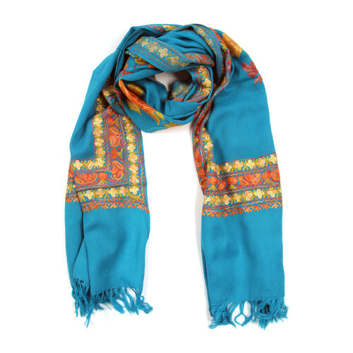Designer Inspired 100% Merino Wool Orange and Multi Colour Flowers and Leaves Embroidered Turquoise
