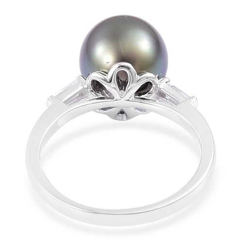 ILIANA 18K White Gold AAAA Rare Size Tahitian Pearl (Rnd 10 to 11 mm), Natural Cambodian Zircon Ring, Gold wt. 3.68 Gms.