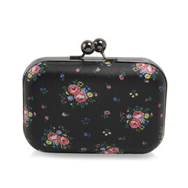 Floral Pattern Evie Clutch Bag with Chain - Black Colour