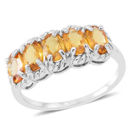 AAA Chanthaburi Yellow Sapphire (Ovl) 5 Stone Ring in Rhodium Plated Sterling Silver 3.000 Ct.
