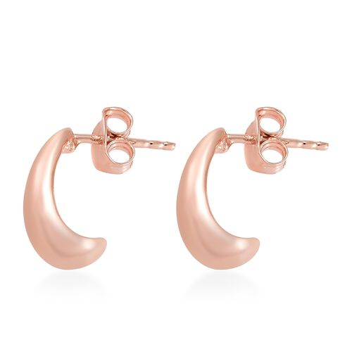 Rose Gold Overlay Sterling Silver J Hoop Earrings (with Push Back), Silver wt 3.80 Gms.
