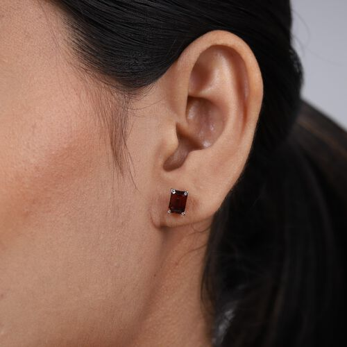 Red Garnet Earrings (with Push Back) in Platinum Overlay Sterling Silver 2.65 Ct.