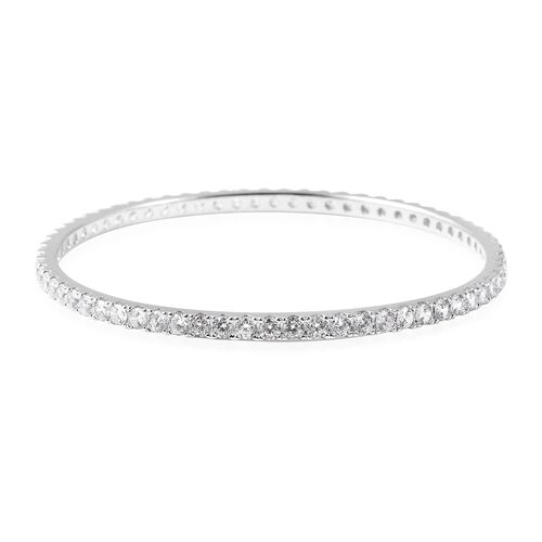 ELANZA Simulated Diamond Stacker Bangle in Rhodium Plated Sterling Silver 12.48 Grams 7.5 Inch