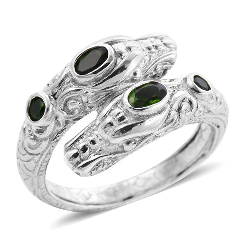 Royal Bali Collection - Russian Diopside Dragon Head Ring in Sterling Silver, Silver wt 7.18 Gms