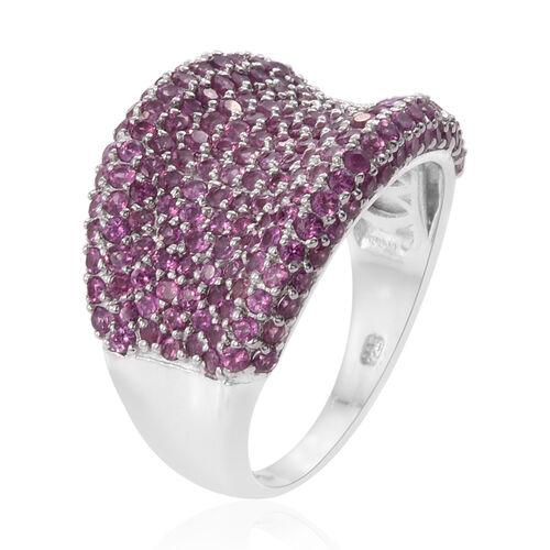Rhodolite Garnet (Rnd) Cluster Ring in Platinum Overlay Sterling Silver 4.750 Ct.Total Number of Stones 216 Silver wt 8.47 Gms.
