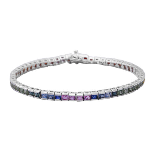 7.42 Ct Rainbow Sapphire Channel Set Tennis Bracelet in Rhodium Plated Silver 9.90 Grams 7 Inch