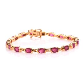 Super Auction-African Ruby (Ovl) Bracelet (Size 7) in 14K Gold Overlay Sterling Silver 11.50 Ct, Sil