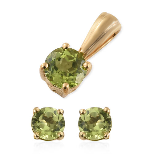 Hebei Peridot (Rnd) Solitaire Earrings (with Push Back) and Pendant in 14K Gold Overlay Sterling Silver 2.000 Ct.
