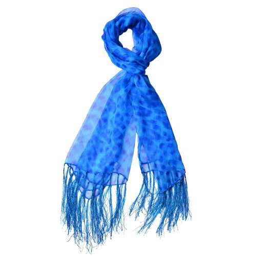 100% Mulberry Silk Light Blue and Dark Blue Colour Leopard Pattern Scarf with Tassels (Size 150X70 Cm)