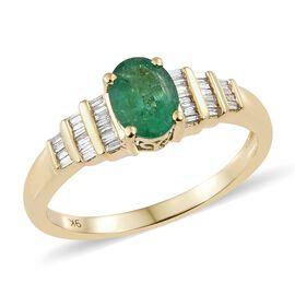Limited Edition- 9K Yellow Gold AA Kagem Zambian Emerald (Rare Size Ovl 8X6 mm1.00 Ct), Diamond Ring 1.250 Ct.