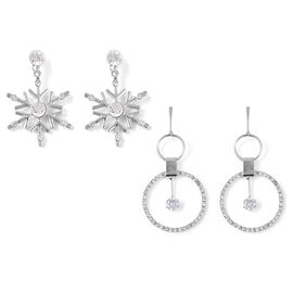 2 Pairs - White Austrian Crystal (Rnd), Simulated Diamond Earrings (with Push Back) in Silver Plated