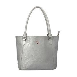 Lucy Q - 100% Genuine Leather Shoulder Bag (Size 32x11x28 Cm) - Silver