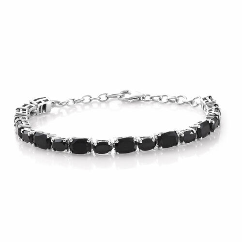 Black Tourmaline (Cush 8.35 Ct), Boi Ploi Black Spinel Bracelet (Size 7.5) in Platinum Overlay Sterling Silver 13.500 Ct, Silver wt 7.96 Gms.