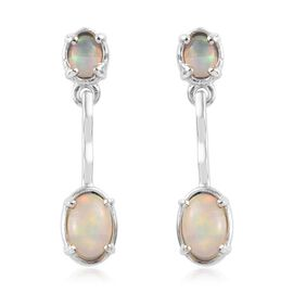 Ethiopian Welo Opal Earrings (with Push Back) in Platinum Overlay Sterling Silver 1.000 Ct.