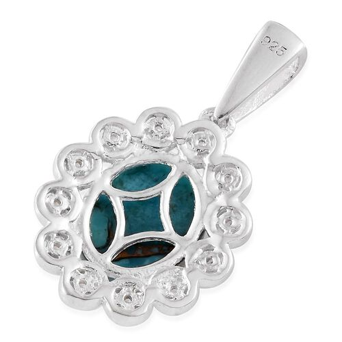 Mojave Blue Turquoise (Ovl 2.60 Ct), Natural Cambodian Zircon Pendant in Sterling Silver 2.750 Ct.