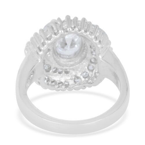 AAA Simulated White Diamond (Ovl) Ring in Rhodium Plated Sterling Silver