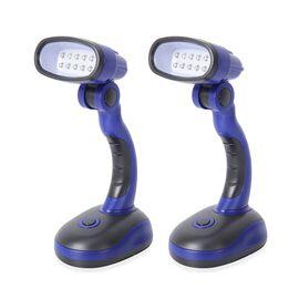 2 Piece Set- Blue and Black Colour Flexible Desk Lamp with LED Light