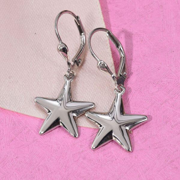 Platinum Overlay Sterling Silver Lever Back Star Earrings