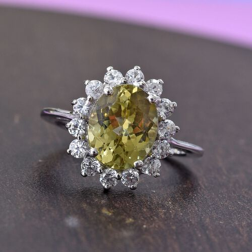 Madagascar Yellow Apatite (Ovl 10x8mm), Natural Cambodian Zircon Floral Ring in Platinum Overlay Sterling Silver 3.91 Ct.