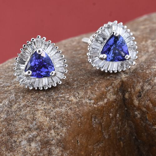 ILIANA 18K White Gold 1.15 Ct AAA Tanzanite Halo Stud Earrings (with Screw Back) with Diamond (SI/G-H)