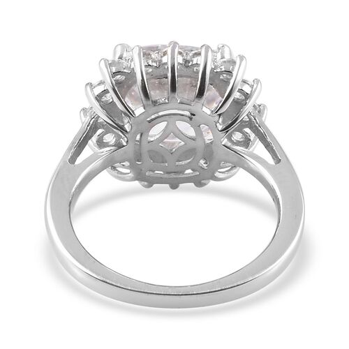 J Francis Platinum Overlay Sterling Silver Halo Ring Made with  SWAROVSKI ZIRCONIA 9.87 Ct