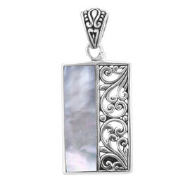Royal Bali Collection Mother of Pearl Fligree Pendant in Sterling Silver 3.75 Grams