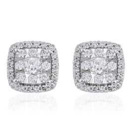 NY Close Out 14K White Gold Diamond (SI-I1/G-H) Stud Earrings (with Push Back) 0.62 Ct.