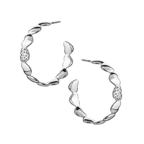 RACHEL GALLEY Rhodium Plated Sterling Silver Heart Earrings (with Push Back), Silver wt 16.14 Gms.