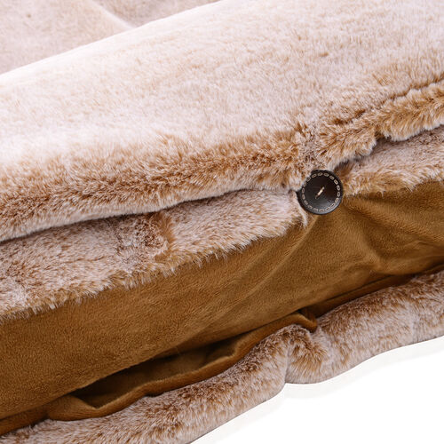 Sumptuous Faux Fur Quilted Sleeping Bag Fully Lined and Detachable Pillow (Size 178x76 cm) Beige