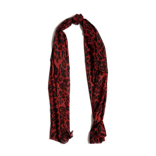 Leopard Print Red Scarf (Size 50x150 Cm) with Bangle and Hook Earrings in Gold Tone