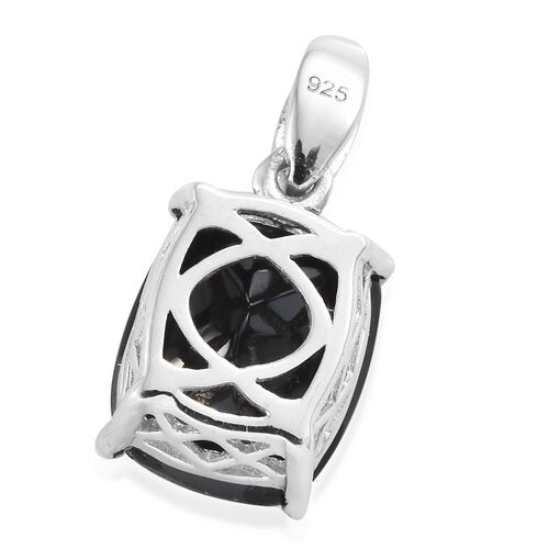 Boi Ploi Black Spinel (Cush) Solitaire Pendant in Platinum Overlay Sterling Silver 7.000 Ct.