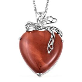 Red Jasper Bowknot Heart Pendant with Chain (Size 24) in Stainless Steel