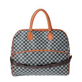 Designer Inspired- Check Pattern Handbag (Size 43x15x37cm)- Black and Light Green