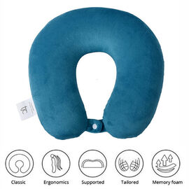 Stylish and Comfortable Memory Foam Ergonomic Neck Pillow with Snap Closure - Teal