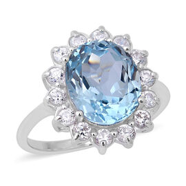 7.44 Ct Sky Blue Topaz and Zircon Halo Ring in Rhodium Plated Sterling Silver