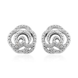 Diamond Rose Flower Stud Earrings (with Push Back) in Platinum Overlay Sterling Silver
