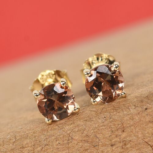 9K Yellow Gold AA Brazilian Andalusite Stud Earrings (with Push Back) 0.55 Ct.