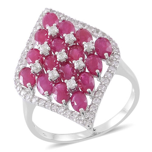 Limited Edition- Designer Inspired 9K White Gold AAA Burmese Ruby with Natural White Cambodian Zircon Ring 6.650 Ct.
