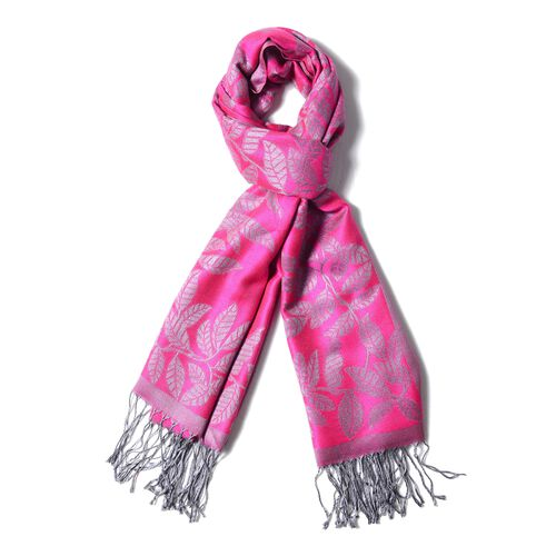 Designer Inspired- Rose Colour Leafy Vine Design on Edges Monochrome Scarf with Tassels (Size 180X68 Cm)