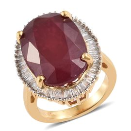 Signature Collection 20.75 Ct African Ruby and Diamond Halo Ring in 14K Gold Plated Silver