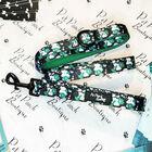 Pet Pooch Boutique- Emerald Forest Lead Floral Print (Size L-120 Cm,Handel Hold 20 Cm) - Green & Bla