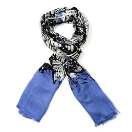 Blue, Black and White Colour Butterfly Pattern Scarf (Size 180x70 Cm)