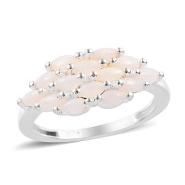 Natural Australian Opal (Mrq) Cluster Ring in Sterling Silver 1.00 Ct.