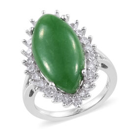 11.25 Ct Green Jade and Cambodian Zircon Halo Ring in Platinum Plated Sterling Silver 4.05 Grams