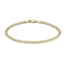 One Time Deal- 9K Yellow Gold Diamond Cut Curb Bracelet (Size 7.5), Gold wt 2.80 Gms